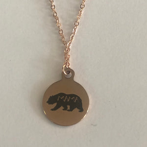 Buffalo Girls Salvage - Mama Bear Rose Gold Laser Necklace