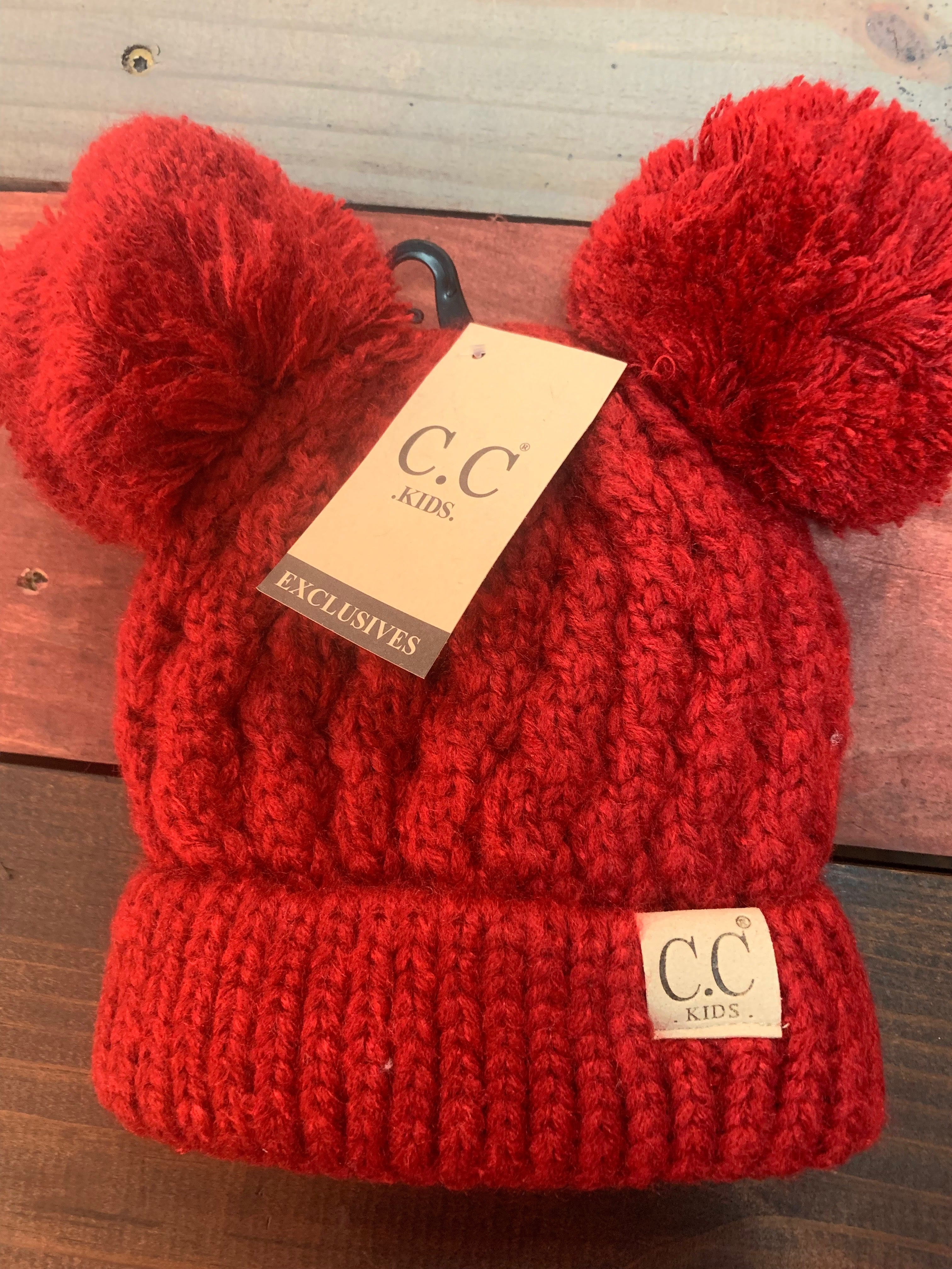 Red Double Pom Kids CC Beanie