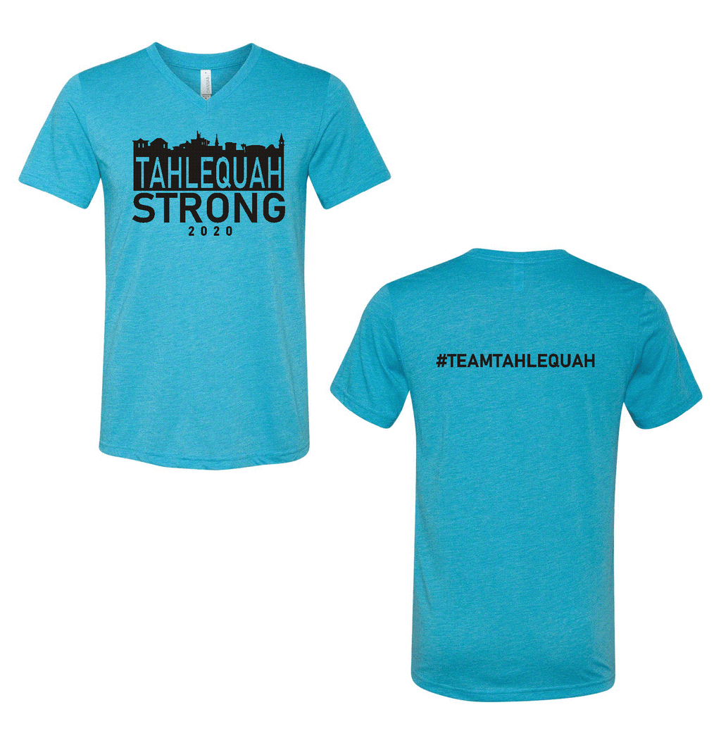 Tahlequah Strong AQUA V-NECK IN STOCK