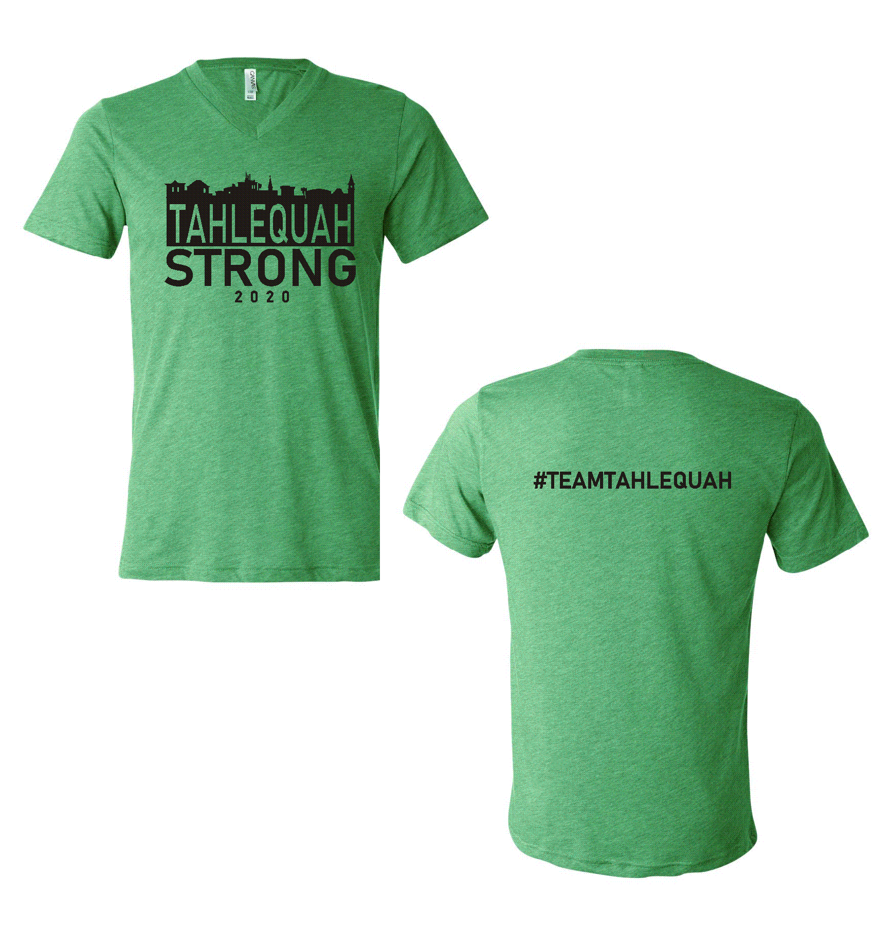 Tahlequah Strong GREEN V-NECK PREORDER