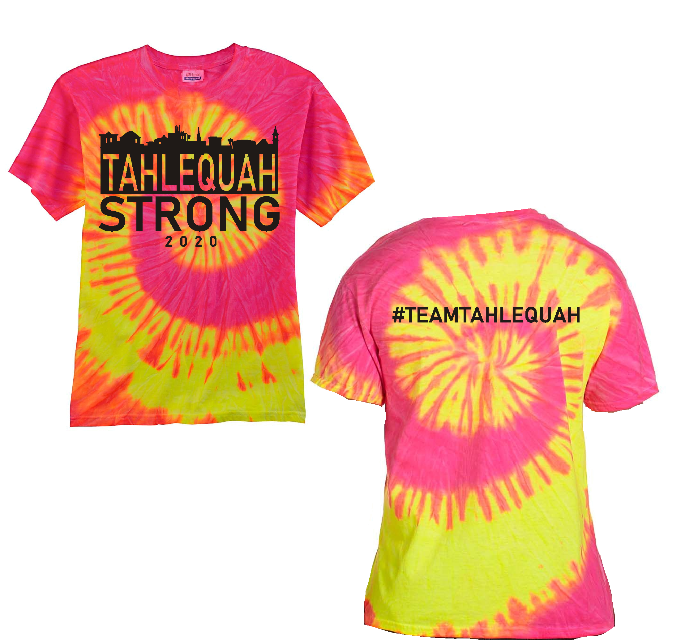 "Tahlequah Strong TIE DYE ""Fluorescent Swirl"" IN STOCK"