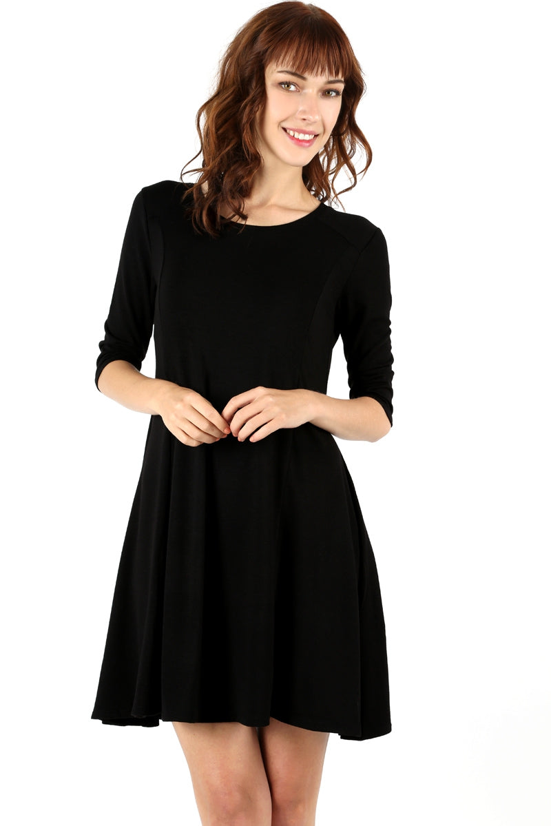 Black Short to Mid-Length Tapered Dress