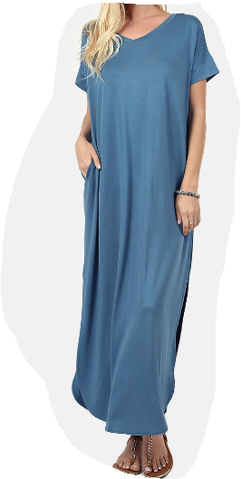 Long Titanium Blue Dress with Pockets
