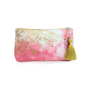 Blush Watercolor Tassel Pouch Small