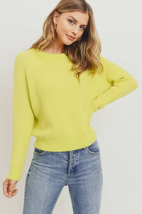 Lime Yellow Mossy Sweater Long Sleeve