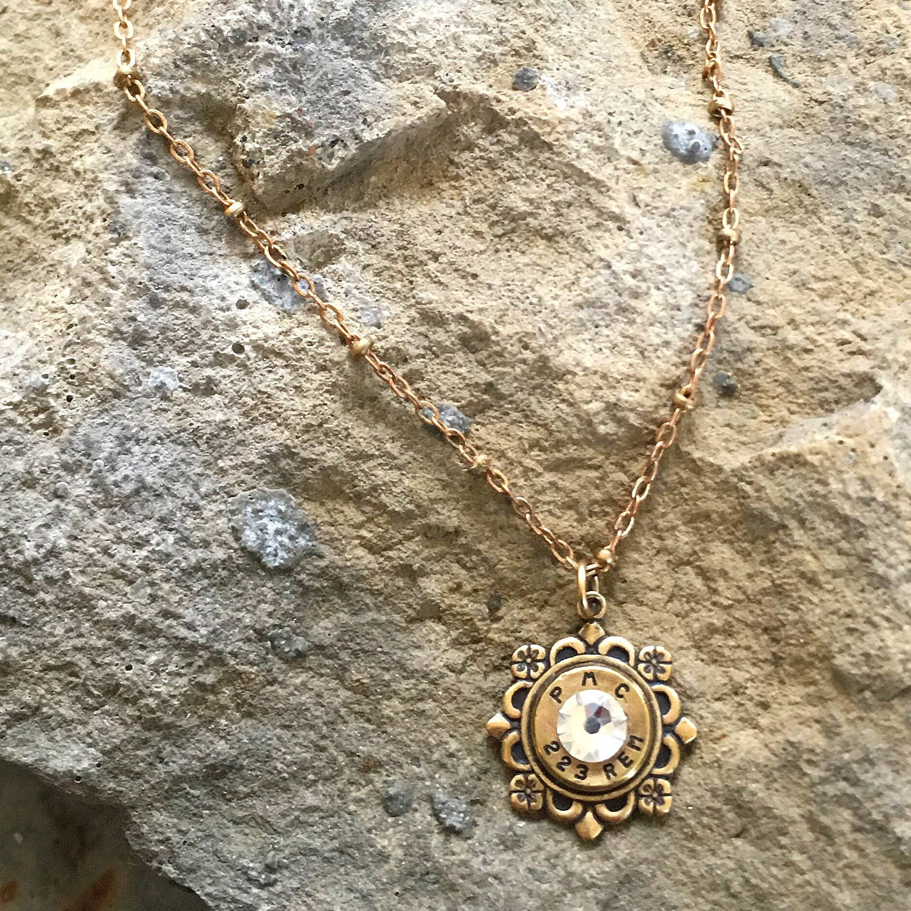 Buffalo Girls Salvage - Bullet Flower Necklace - Antique Bronze Recycled Jewelry