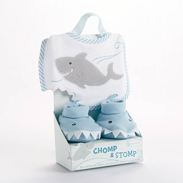 Baby Aspen - Shark Bib and Booties Gift Set