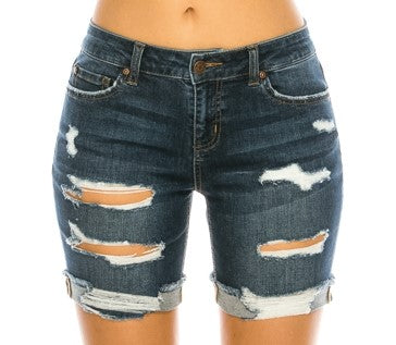 Dark Blue Distressed Denim Shorts