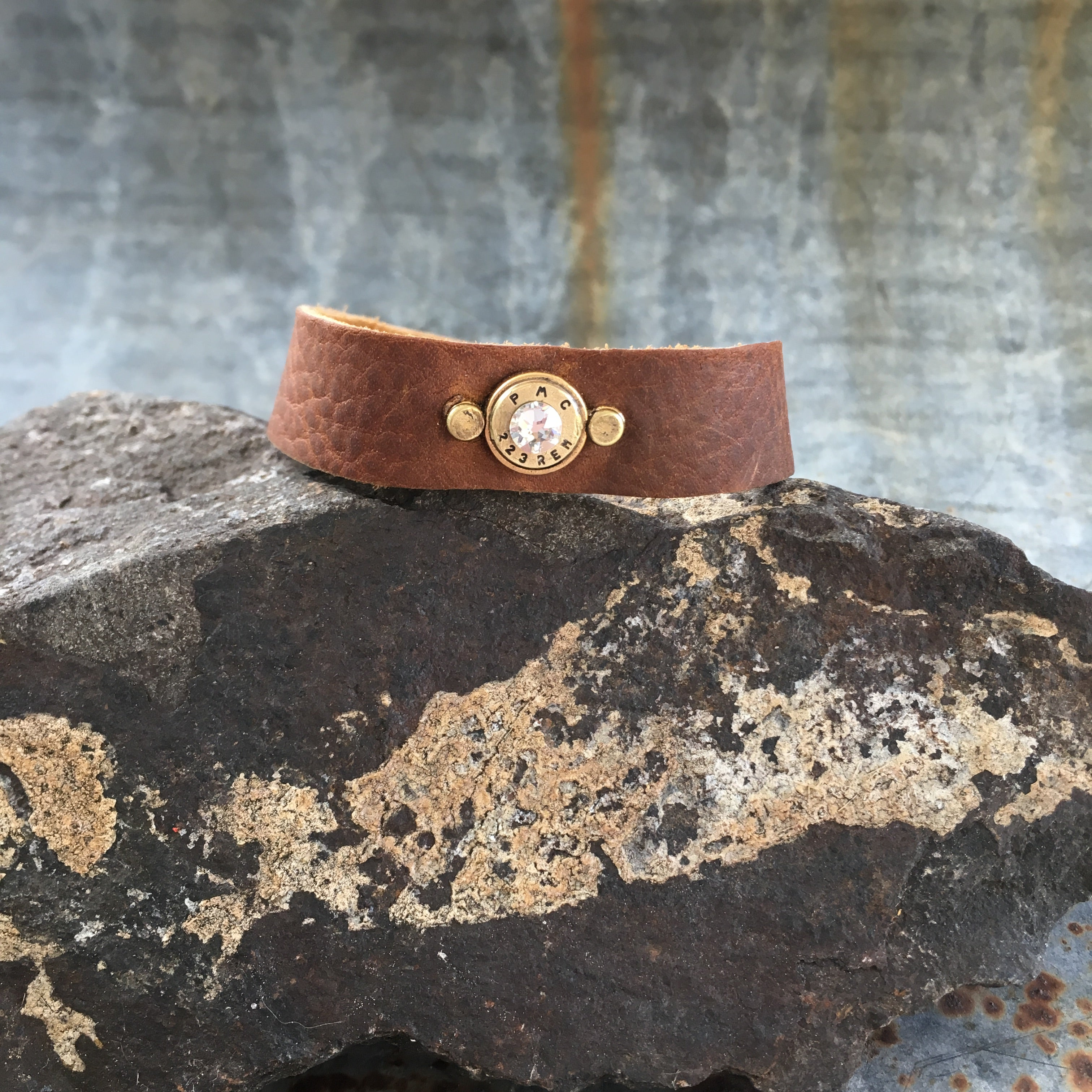 Buffalo Girls Salvage - Leather Bullet Bracelet - Gold