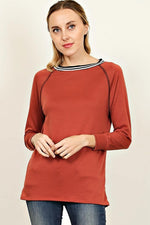 Marsala Round Long Sleeve Top