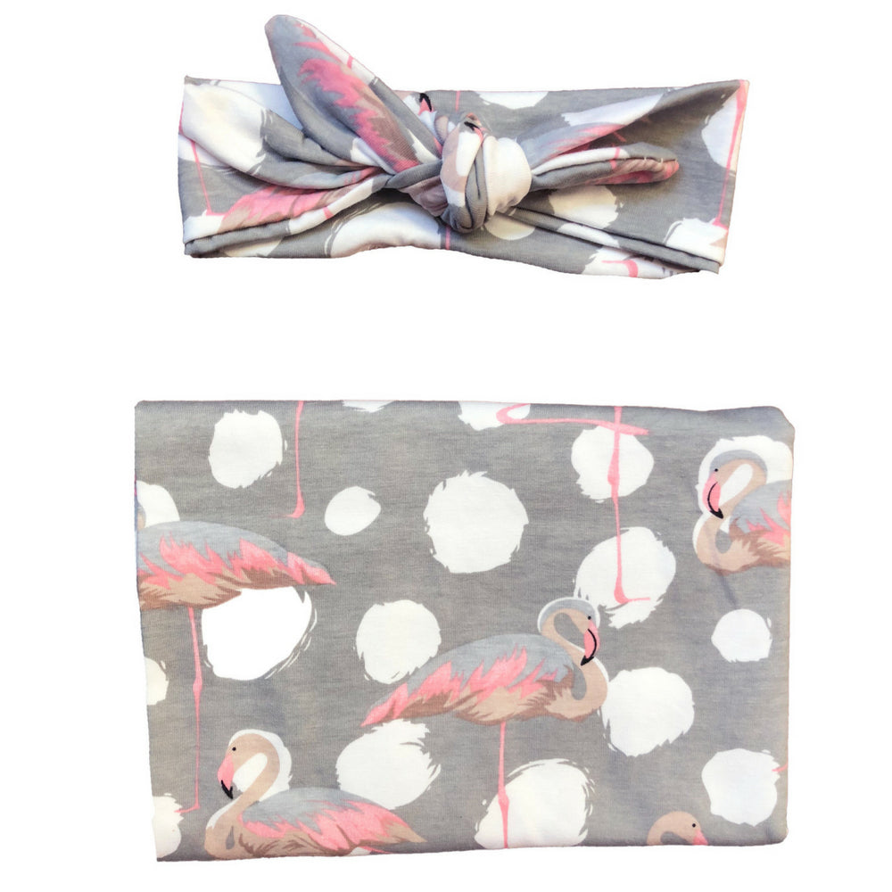 Headbands of Hope - Baby Swaddle Set Fancy Flamingo