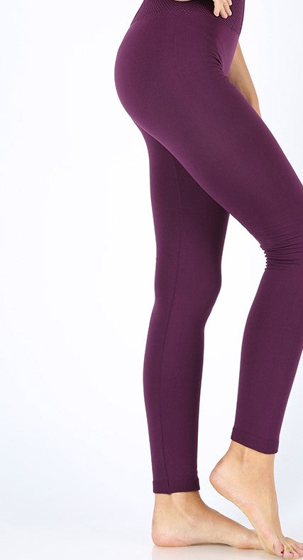 Dark Plum High Waisted Fleece Lined Leggings