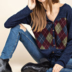 ARGYLE PLAID FRONT BUTTON DOWN TIE FRONT KNIT TOP