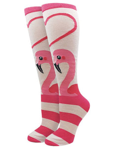 Sock Harbor - Flamingo Heart Knee High Socks