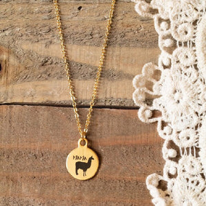 Buffalo Girls Salvage - Mama Llama Gold Laser Necklace