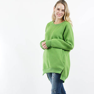 Light Green Fleece Sweatshirt Pullover with Side-pockets