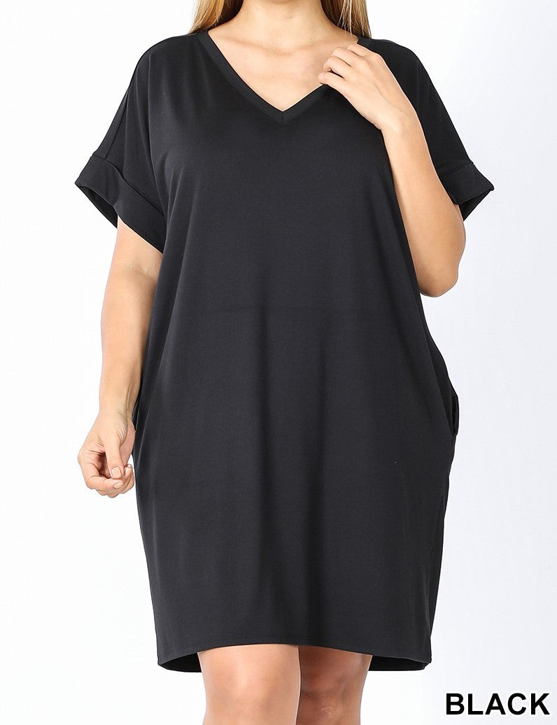 V-Neck A-Line Pocket Dress Black