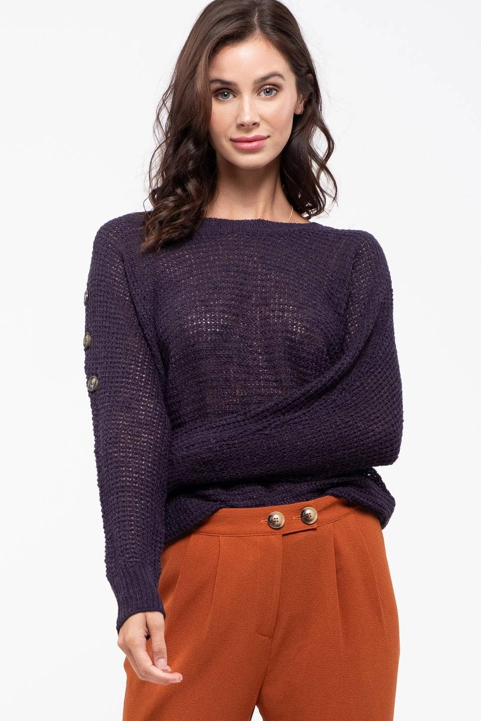 Blu Pepper - Shoulder Button Dolman Sleeve Sweater