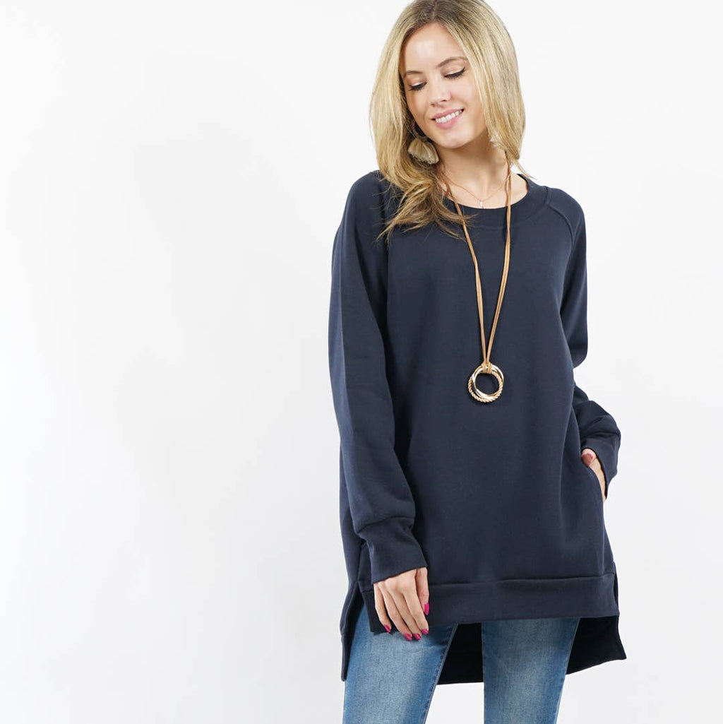 42pops - Fleece Sweatshirt Pullover with Side-pockets NAVY