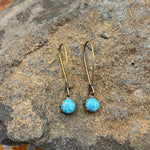 Buffalo Girls Salvage - Simple Turquoise Antique Bronze or Silver Earrings