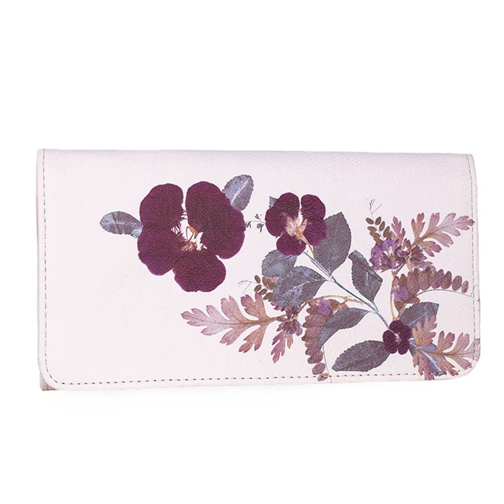 PAPAYA - Trifold Wallet - Plum Leaves