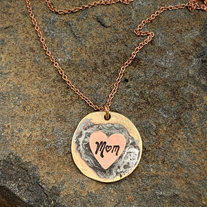 Buffalo Girls Salvage - Mother's Day Handmade Mom Heart Rose Gold Necklace - Jewelry
