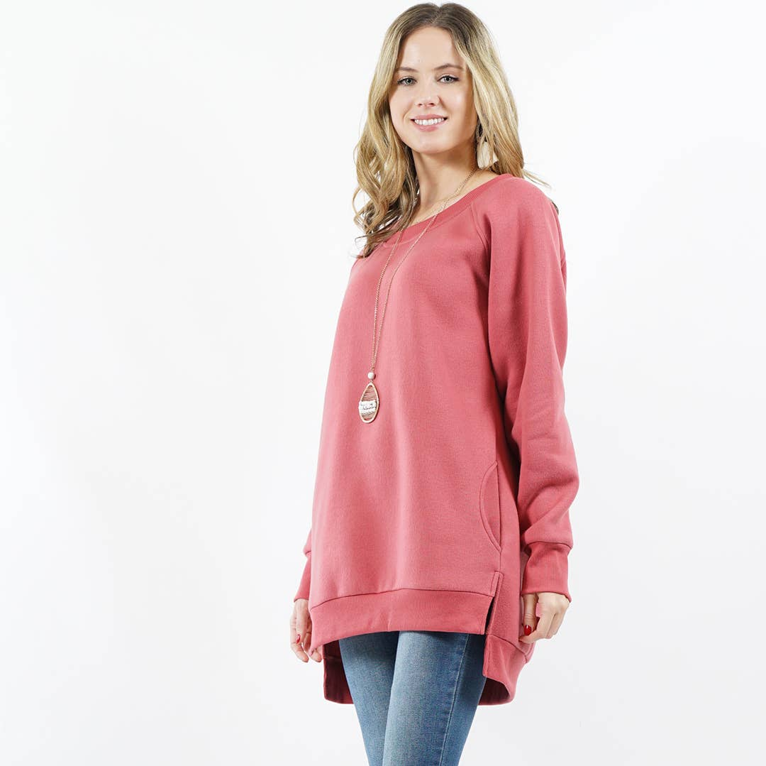 Mauve Fleece Sweatshirt Pullover with Side-pockets