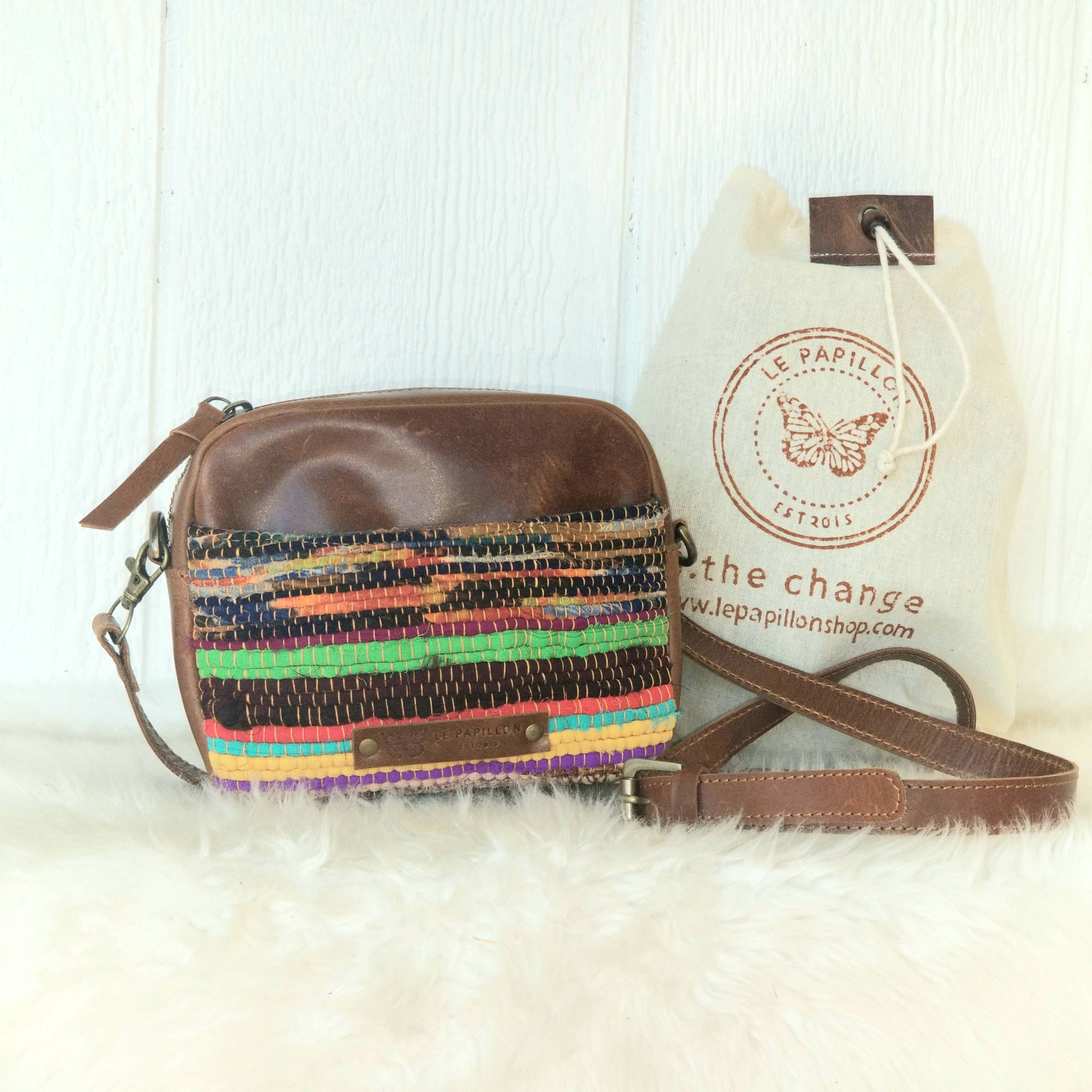 Le Papillon - Cotton Rug Crossbody & Genuine Leather