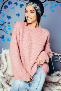 PINK THICK CHUNKY KNIT PULLOVER SWEATER