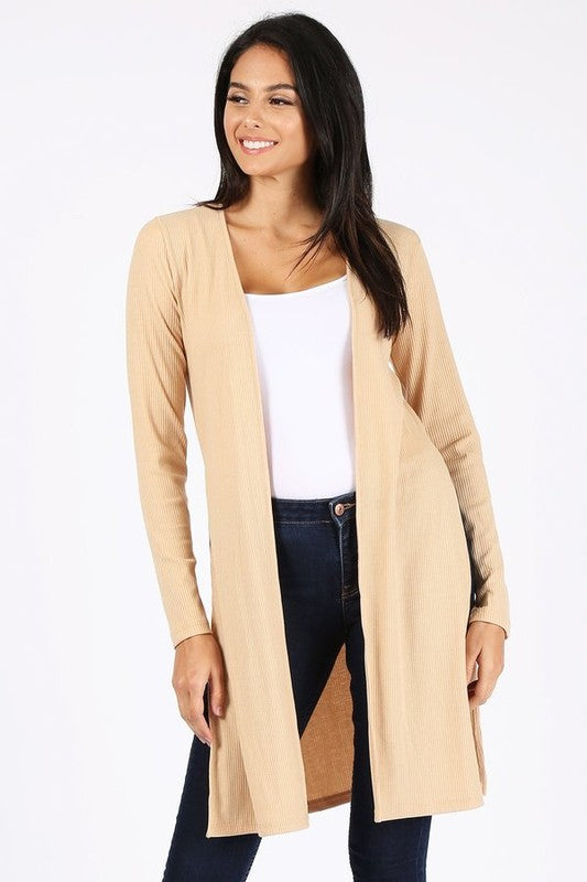 Beige Plus Size Long Fit Cardigan with Side Slits