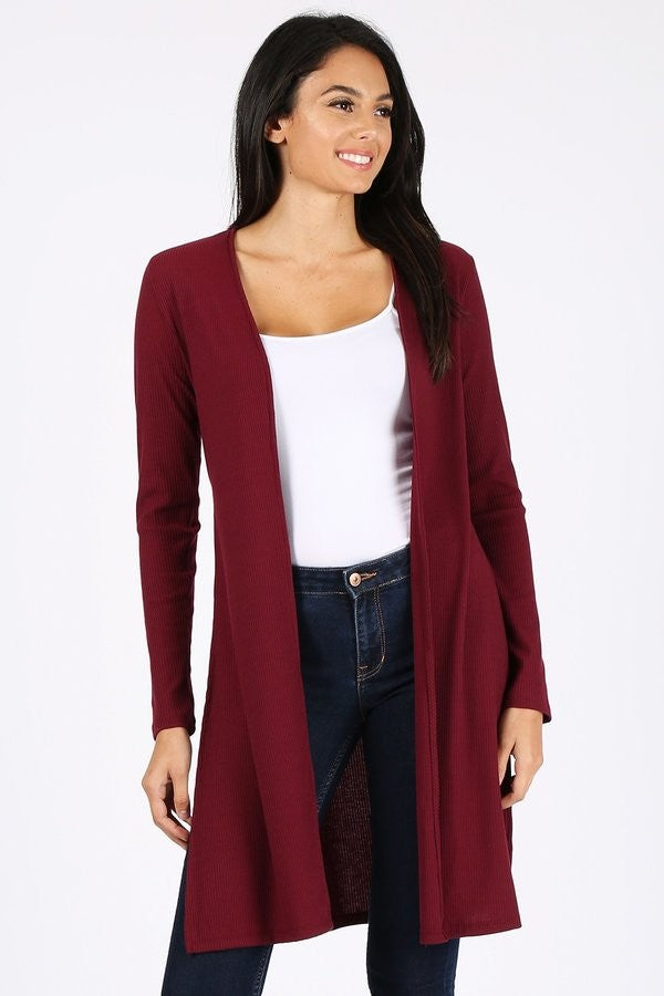Burgundy Plus Size Long Fit Cardigan with Side Slits
