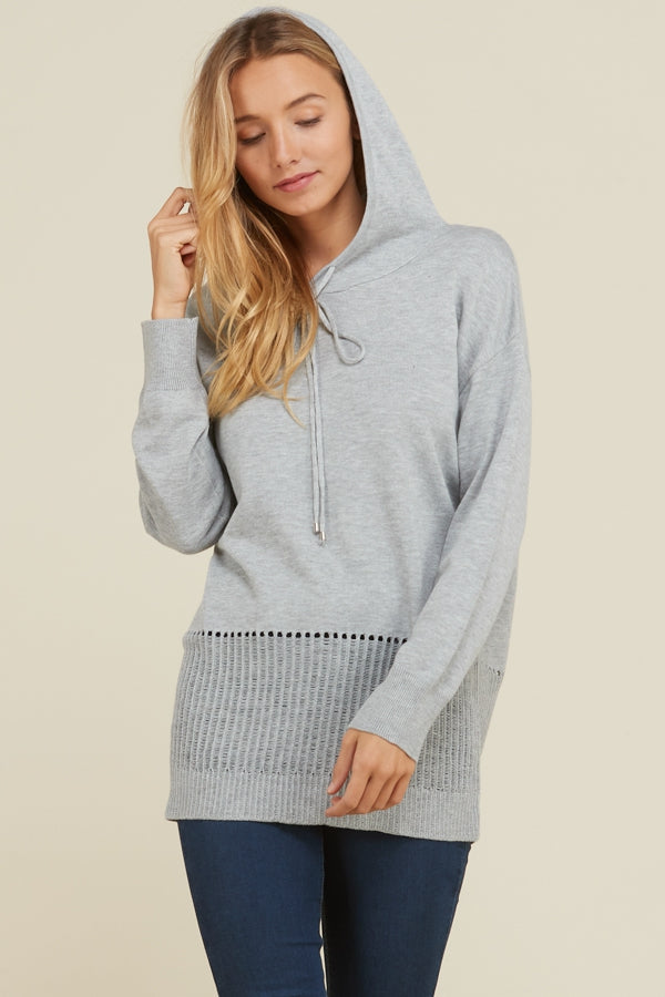 Heather Grey Sweatshirt with Detail and Hood