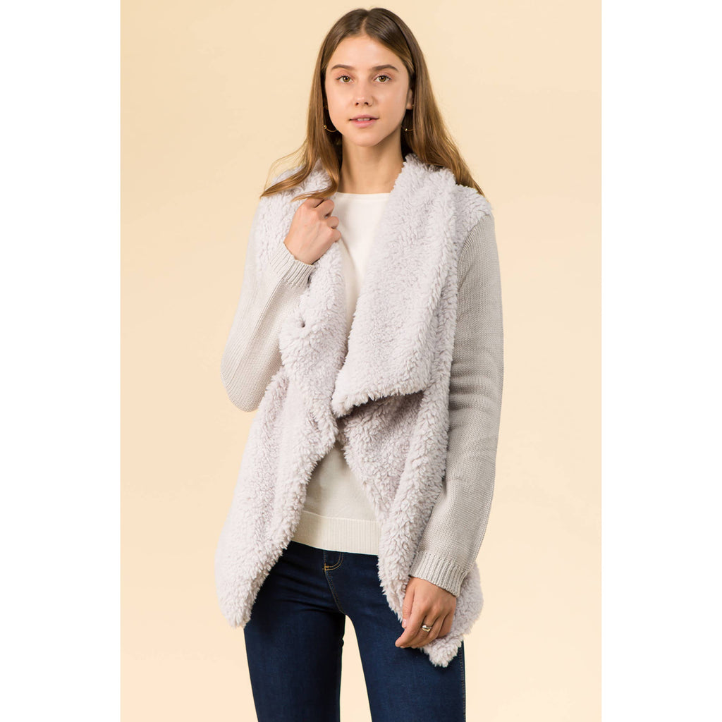 COZY WATERFALL SHERPA OPEN SWEATER CARDIGAN