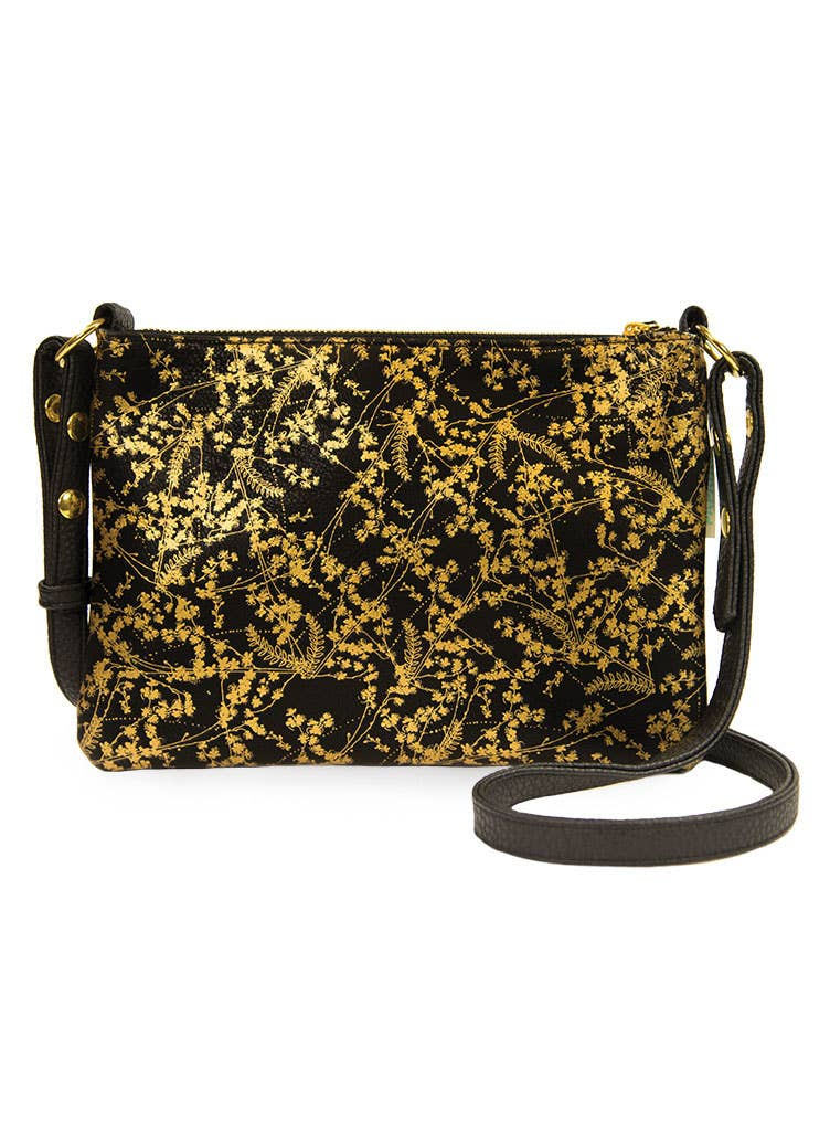 PAPAYA - Crossbody - Black Gilded Flowers