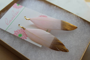 Laalee Jewelry - Gold Dipped Light Pink Feather Earrings
