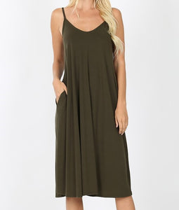 V-Neck Cami Knee Length Pocket Dress Dark Olive