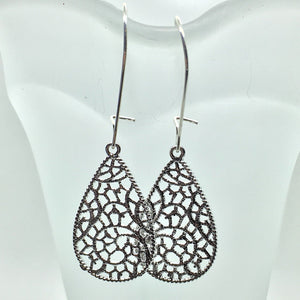 Buffalo Girls Salvage - Silver Filigree Lace Earrings - Teardrop