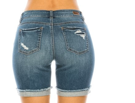 Medium Blue Distressed Denim Shorts