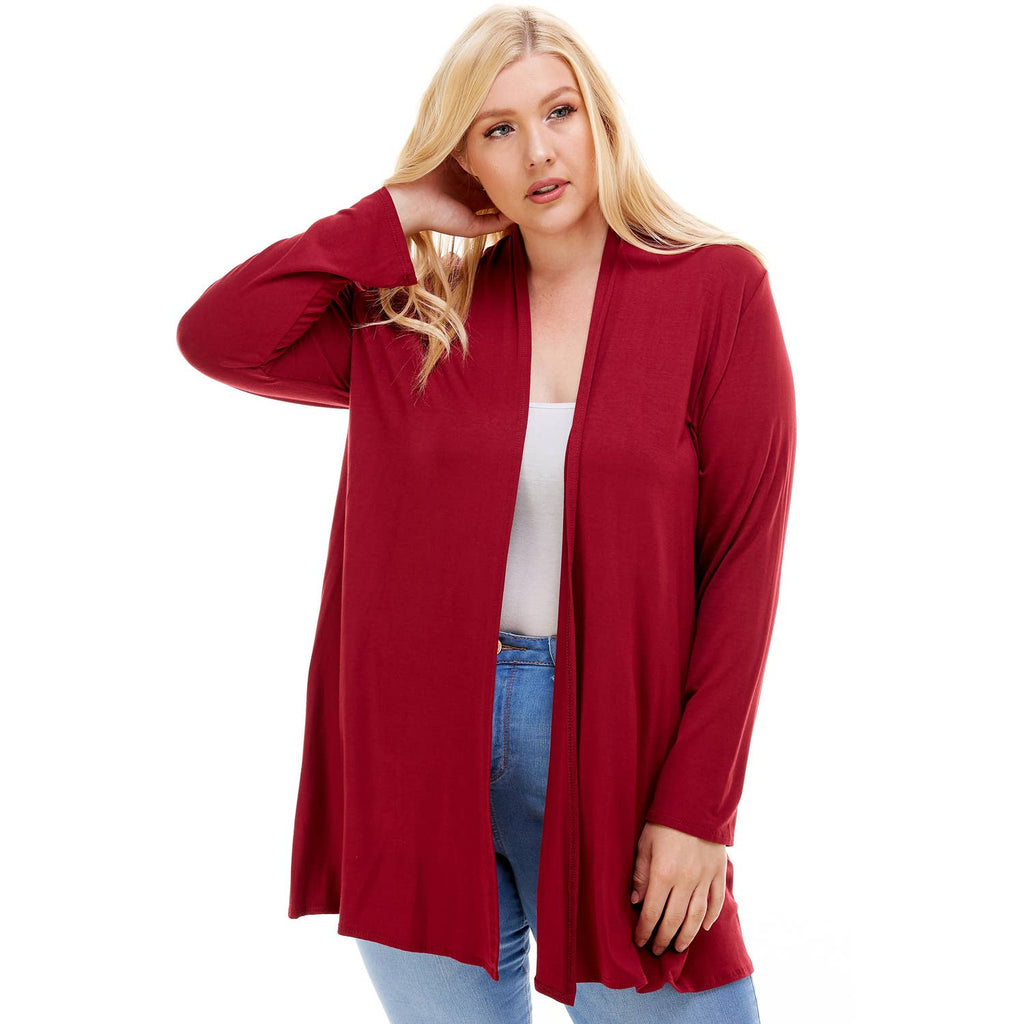 Wine Plus Size Drape Cardigan