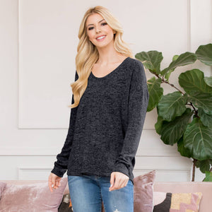 Riah - Lightweight Two Tone Sweater BLACK