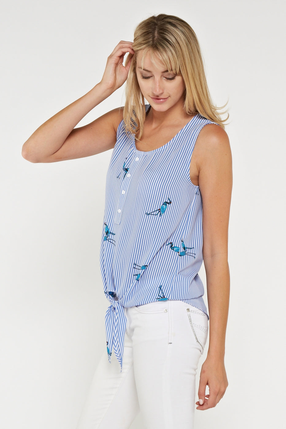 Sleeveless Chambray Top with Self Tie Knot with Cranes