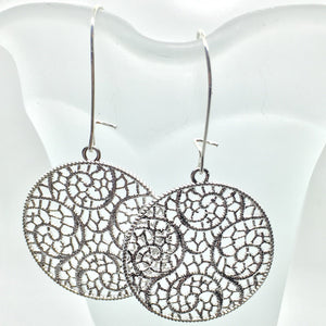 Buffalo Girls Salvage - Silver Filigree Lace Earrings - Circle