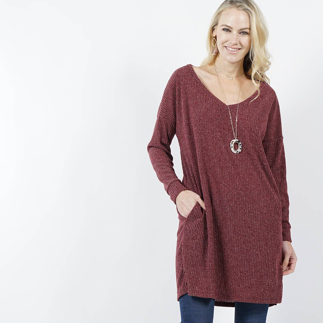 Burgundy V-neck Pocket Sweater