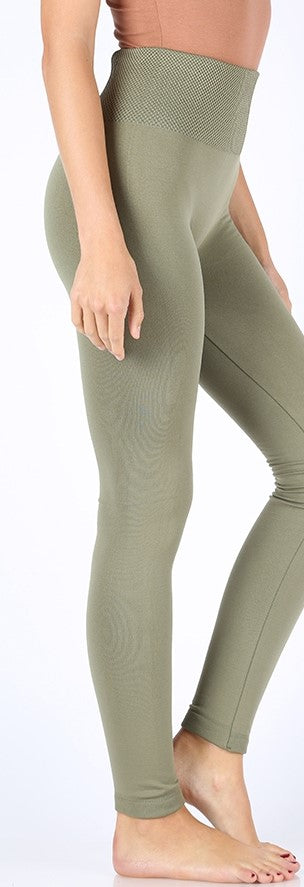 Light Olive High Waisted Fleece Lined Leggings