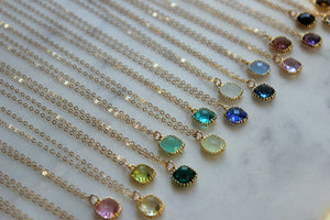 Laalee Jewelry - Gemstone Glass Necklaces, Dainty Minimalist Necklace Peridot
