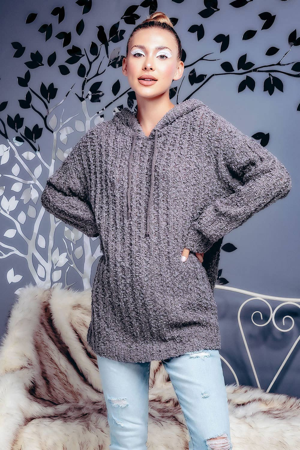 LIGHT RIBBED POPCORN KNIT LONG HOODIE SWEATER