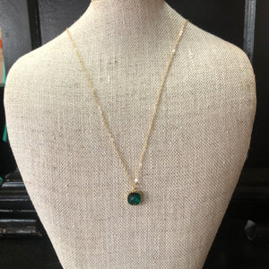 Laalee Jewelry -Emerald Gemstone Glass Necklaces, Dainty Minimalist Necklace