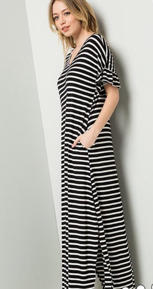 Delaney Dress Black & White Stripes