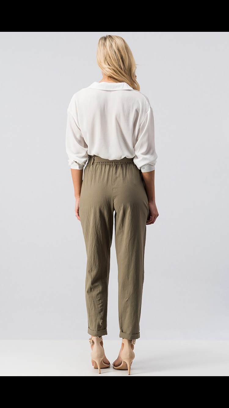 Kate Olive Folded Pegged Pants with Front Tie