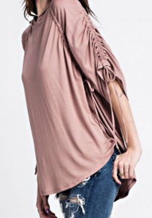 Ruched Sleeve Tunic w/ Hood
